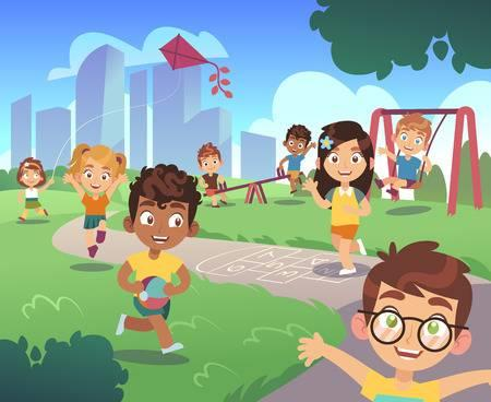cartoon kids playing outside