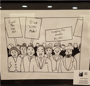 student artwork of mlk and activists