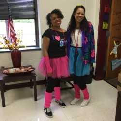 guidance counselors in 80s dress