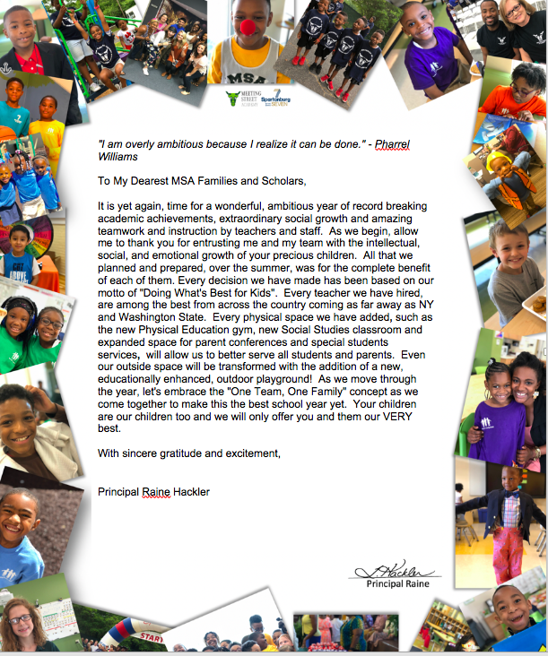 Principal Raine's Welcome Back Letter