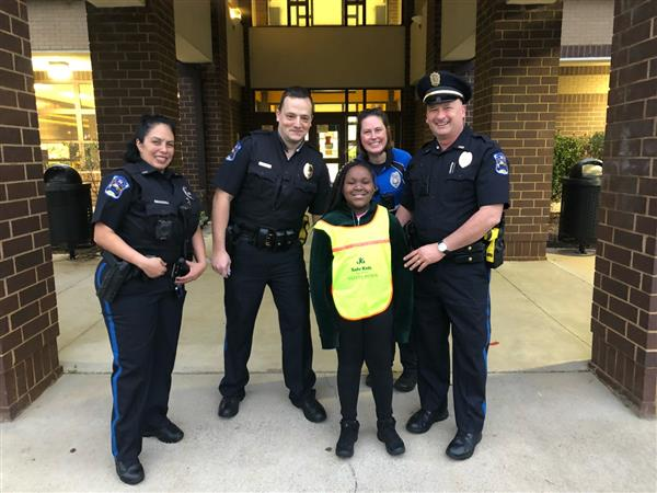 local police officers with student
