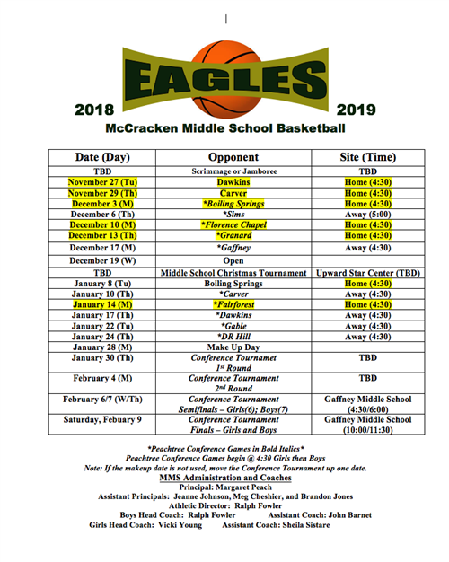 Boys and Girls Basketball Schedule